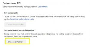 Facebook conversion API instellingen