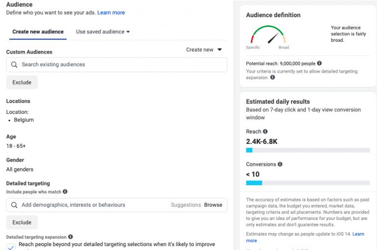 Facebook targeting mogelijkheden
