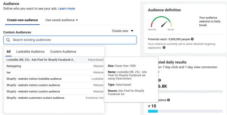lookalike audience facebook advertenties